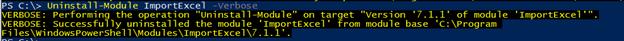 PowerShell uninstall module output 1