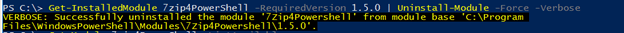 PowerShell uninstall module output 5