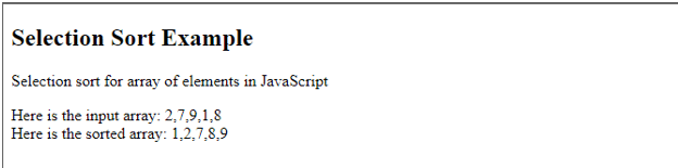 Selection sort in JavaScript 1
