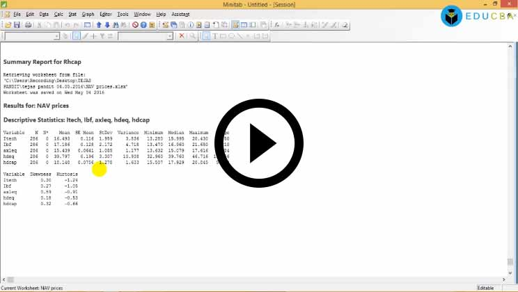 Minitab GUI and Descriptive Statistics