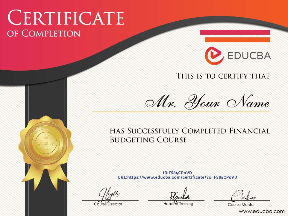 Financial Budgeting Course Certificate