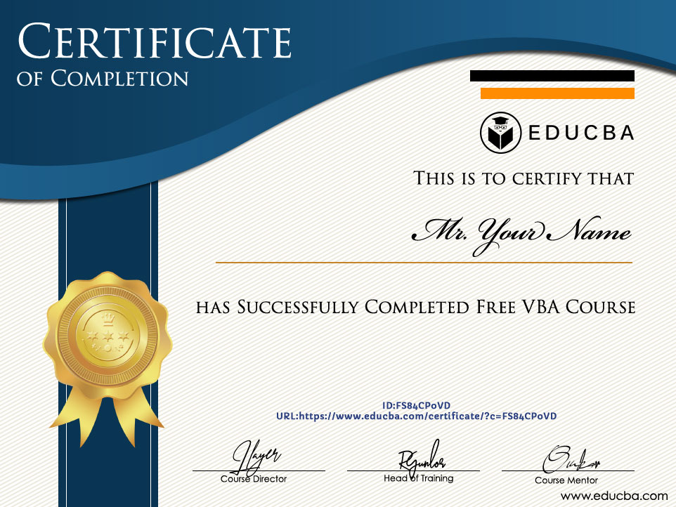 Free VBA Course Certificate