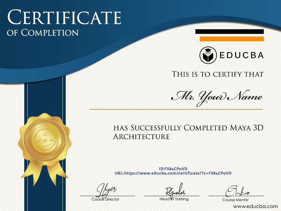 Maya 3D Architecture Previsualization Course certificate