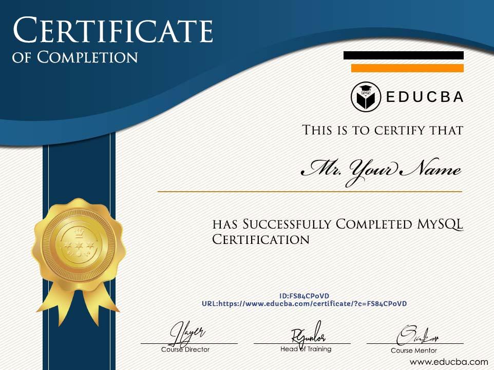 MySQL Certification Certificate